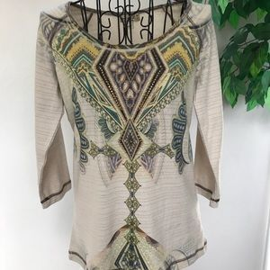 One World Live and Let Live Appliqué Beaded Top